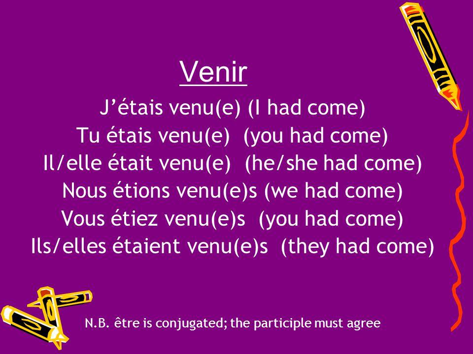 Venir J'étais venu(e) (I had come) Tu étais venu(e) (you had come)