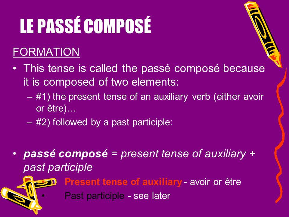 LE PASSÉ COMPOSÉ FORMATION
