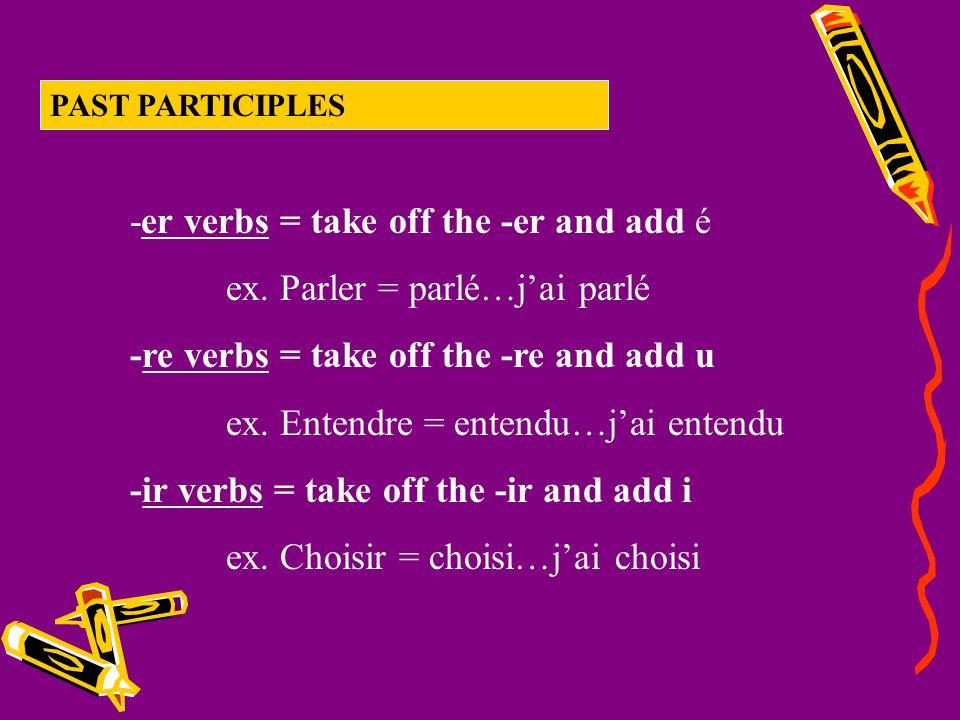 -er verbs = take off the -er and add é ex. Parler = parlé…j'ai parlé