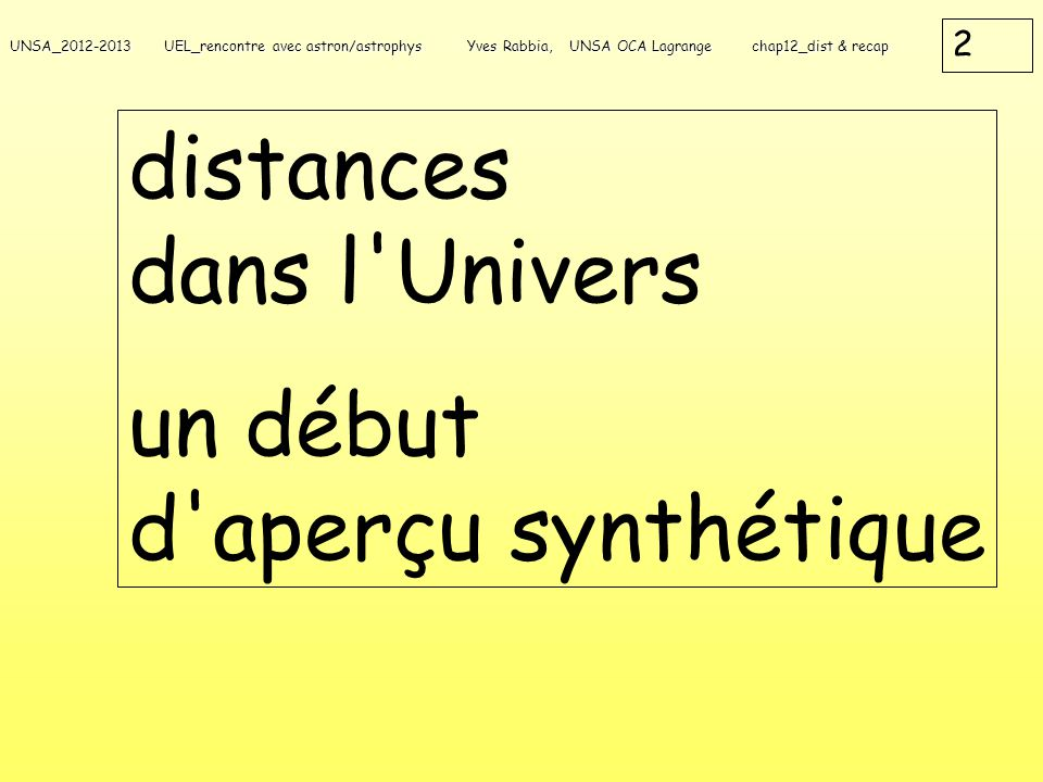 distances dans l Univers un début d aperçu synthétique