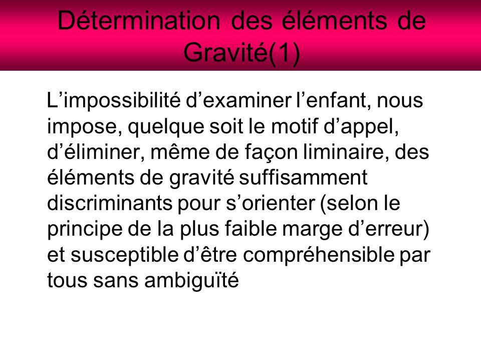 Détermination des éléments de Gravité(1)