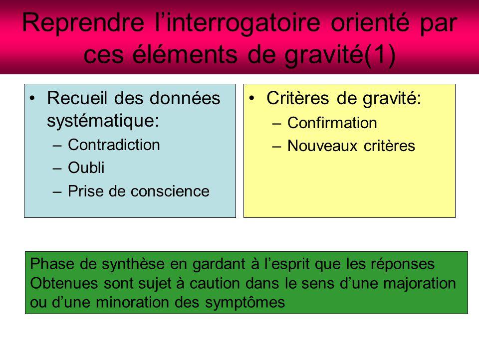 Reprendre l'interrogatoire orienté par ces éléments de gravité(1)