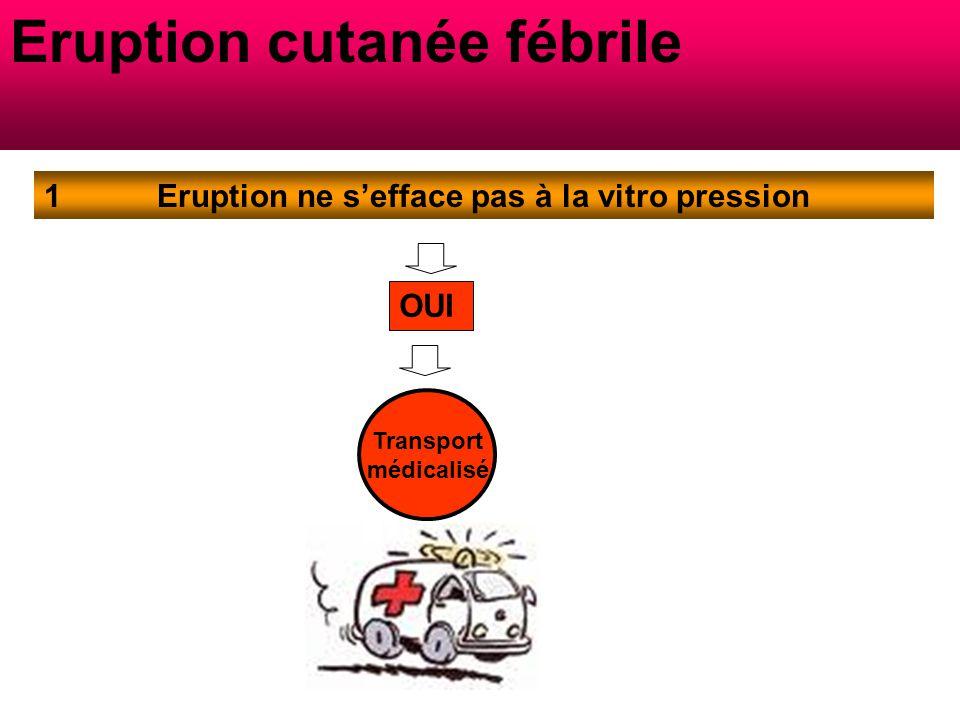 Eruption ne s'efface pas à la vitro pression