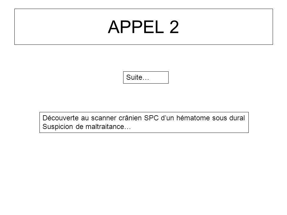 APPEL 2 Suite… Découverte au scanner crânien SPC d'un hématome sous dural.