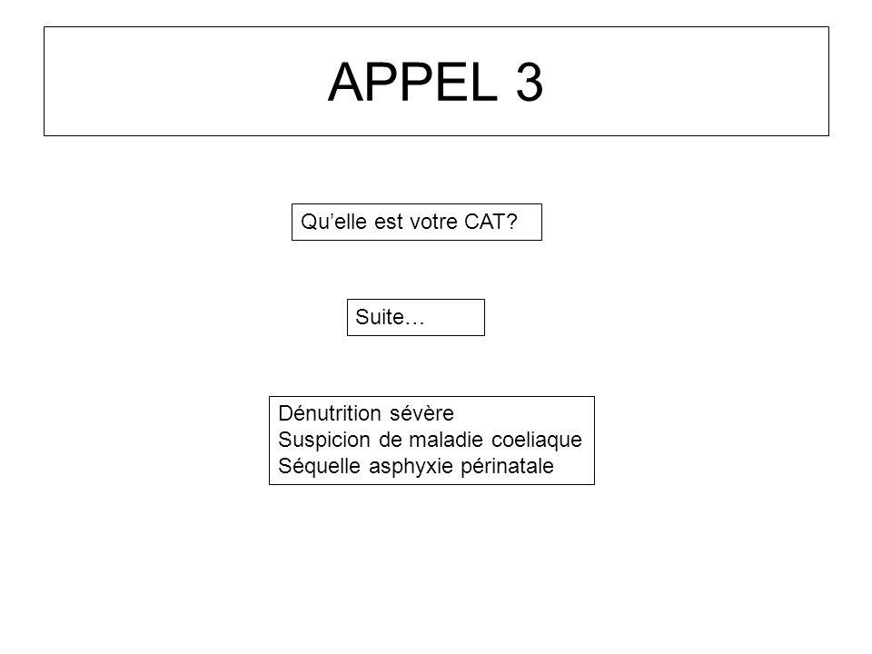 APPEL 3 Qu'elle est votre CAT Suite… Dénutrition sévère