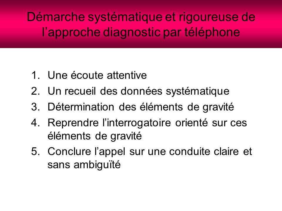 Démarche systématique et rigoureuse de l'approche diagnostic par téléphone
