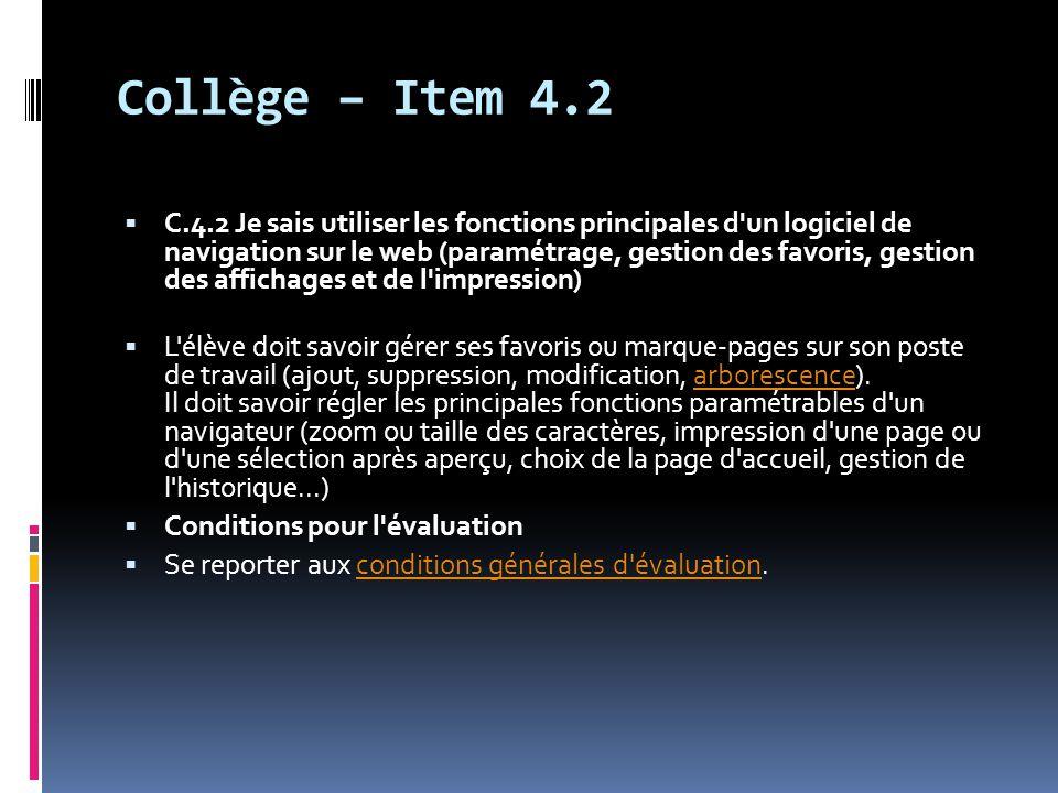 Collège – Item 4.2