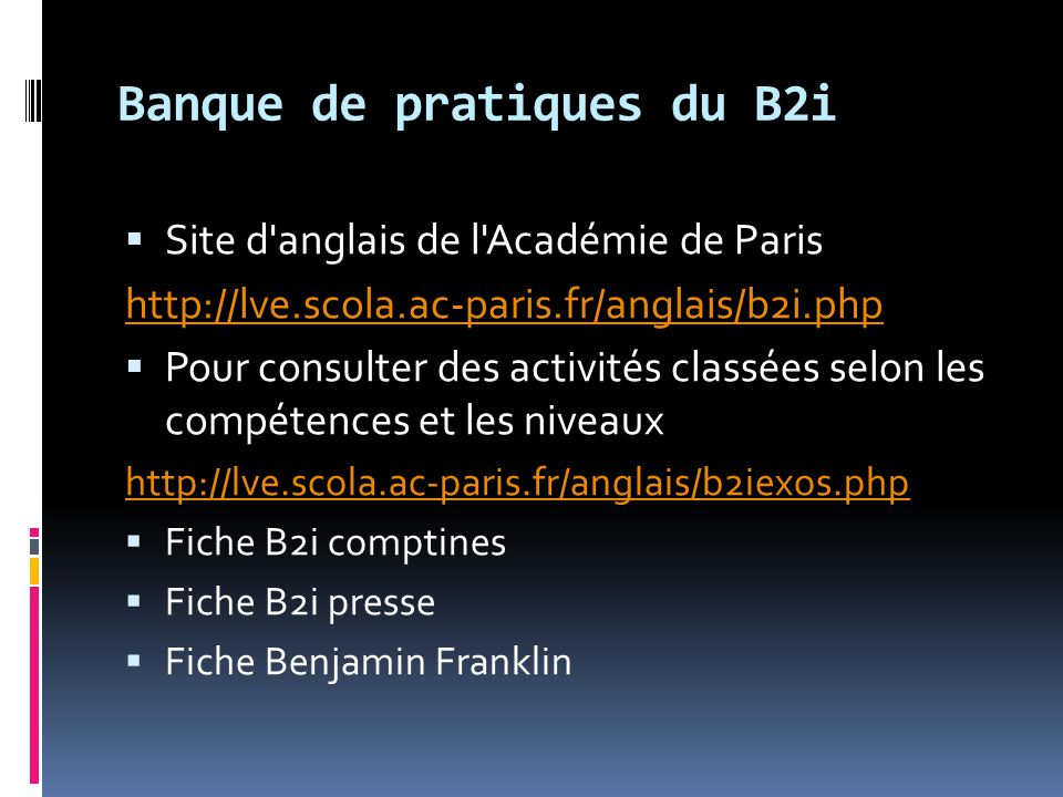 Banque de pratiques du B2i