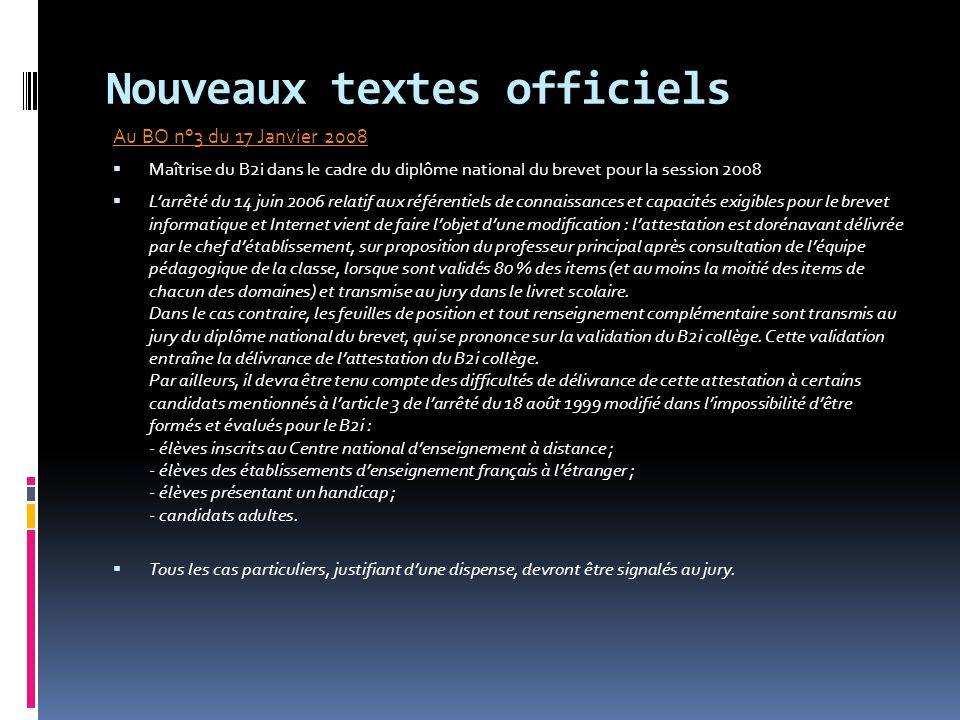 Nouveaux textes officiels