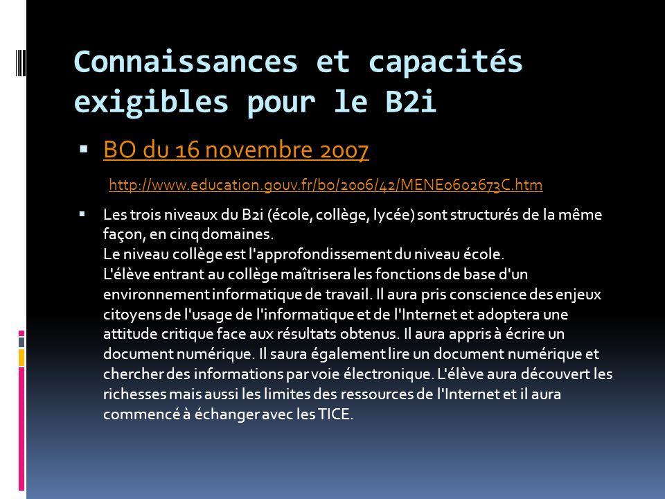 Connaissances et capacités exigibles pour le B2i