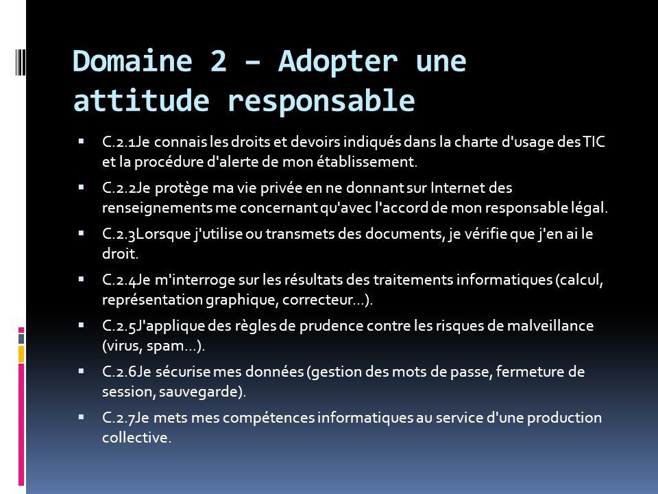 Domaine 2 – Adopter une attitude responsable