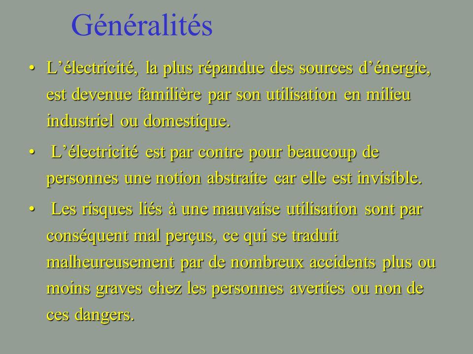 Généralités L'électricité, la plus répandue des sources d'énergie, est devenue familière par son utilisation en milieu industriel ou domestique.