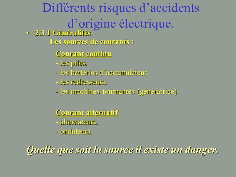 Différents risques d'accidents d'origine électrique.