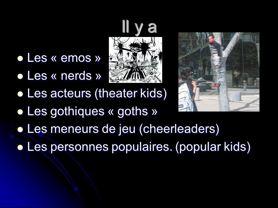 Il y a Les « emos » Les « nerds » Les acteurs (theater kids)