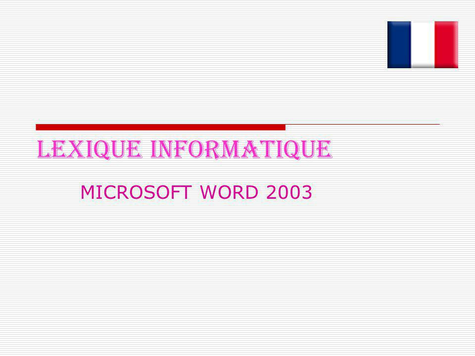 LEXIQUE INFORMATIQUE MICROSOFT WORD 2003