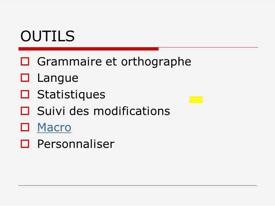 OUTILS Grammaire et orthographe Langue Statistiques