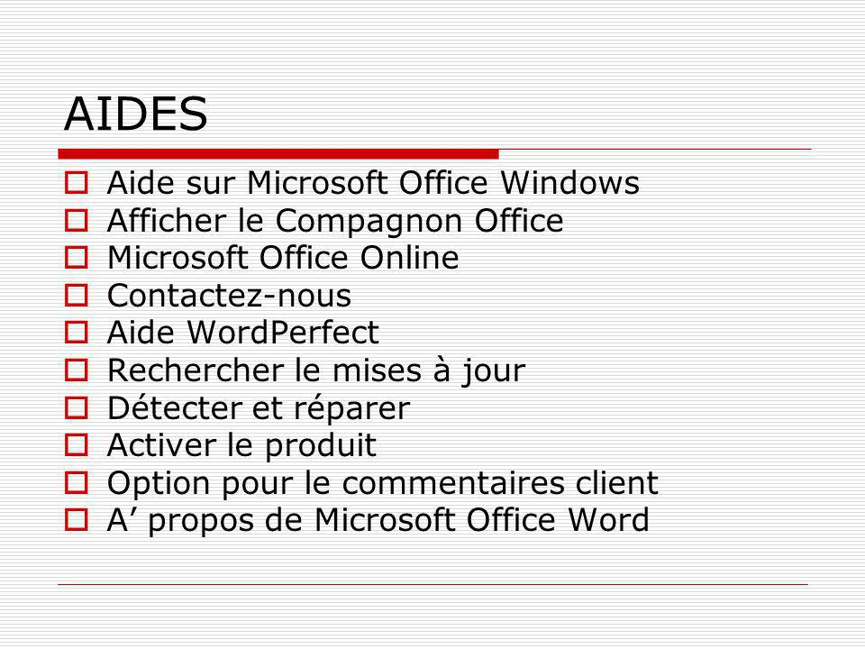 AIDES Aide sur Microsoft Office Windows Afficher le Compagnon Office