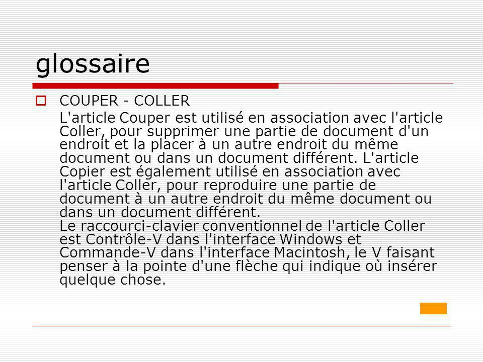 glossaire COUPER - COLLER