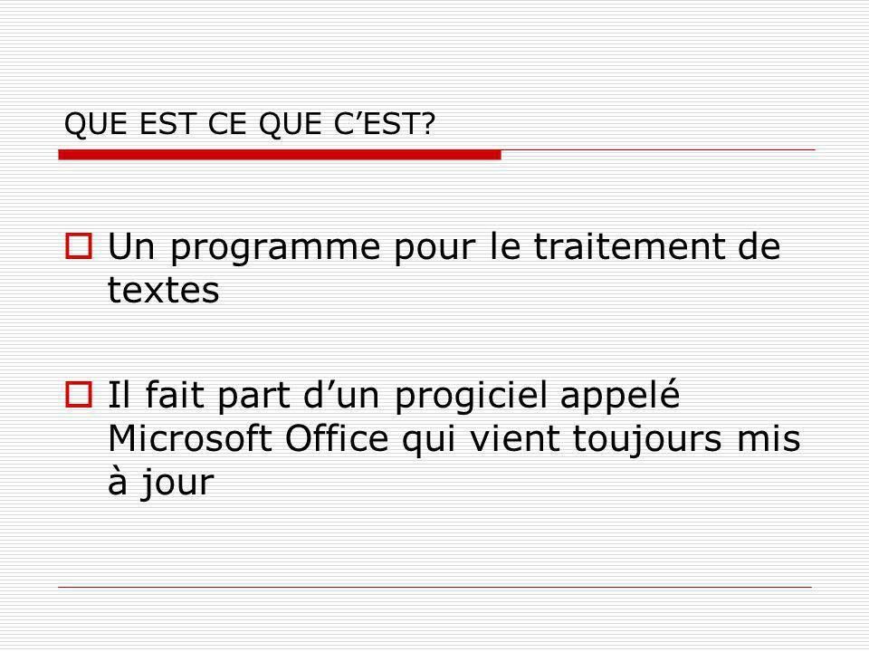 Un programme pour le traitement de textes