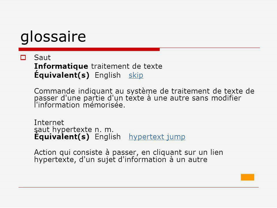 glossaire Saut Informatique traitement de texte