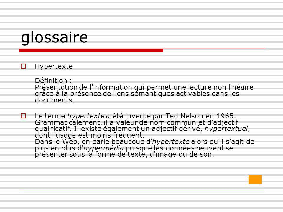 glossaire Hypertexte.