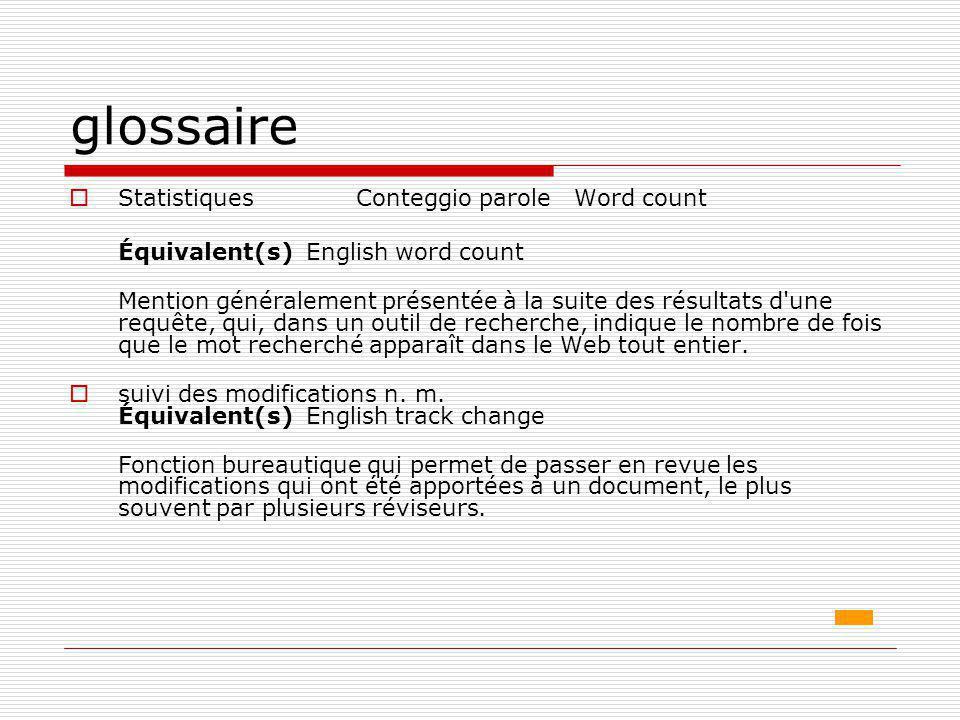 glossaire Statistiques Conteggio parole Word count