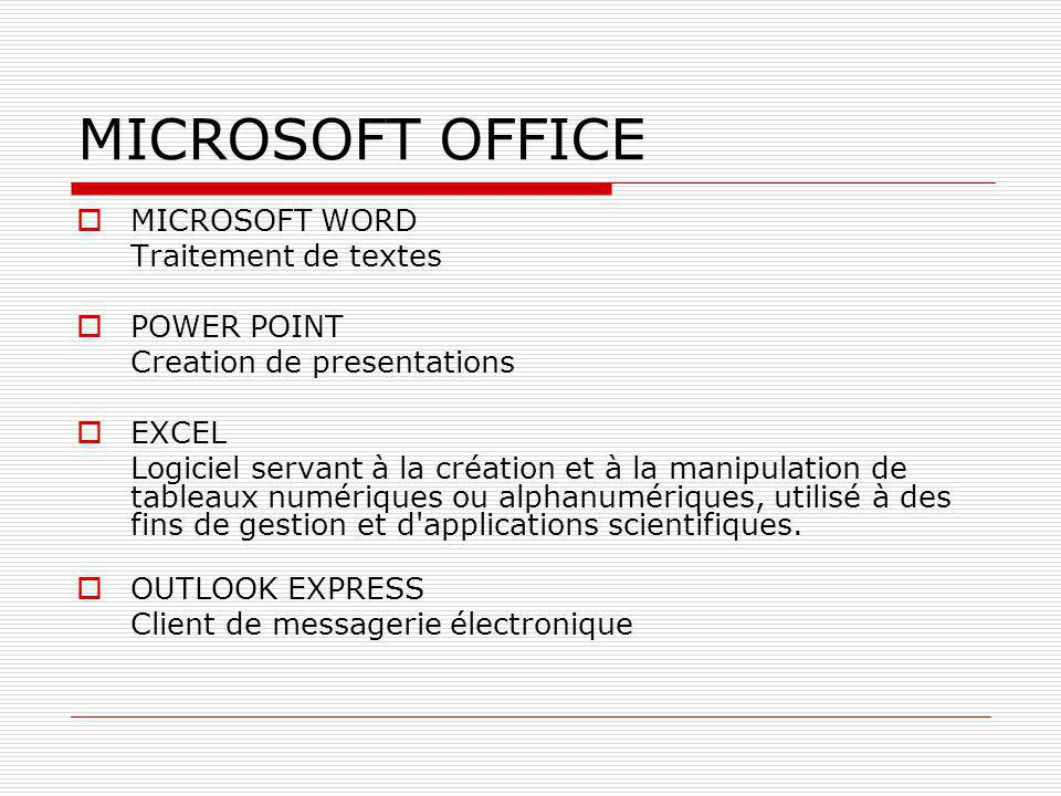 MICROSOFT OFFICE MICROSOFT WORD Traitement de textes POWER POINT