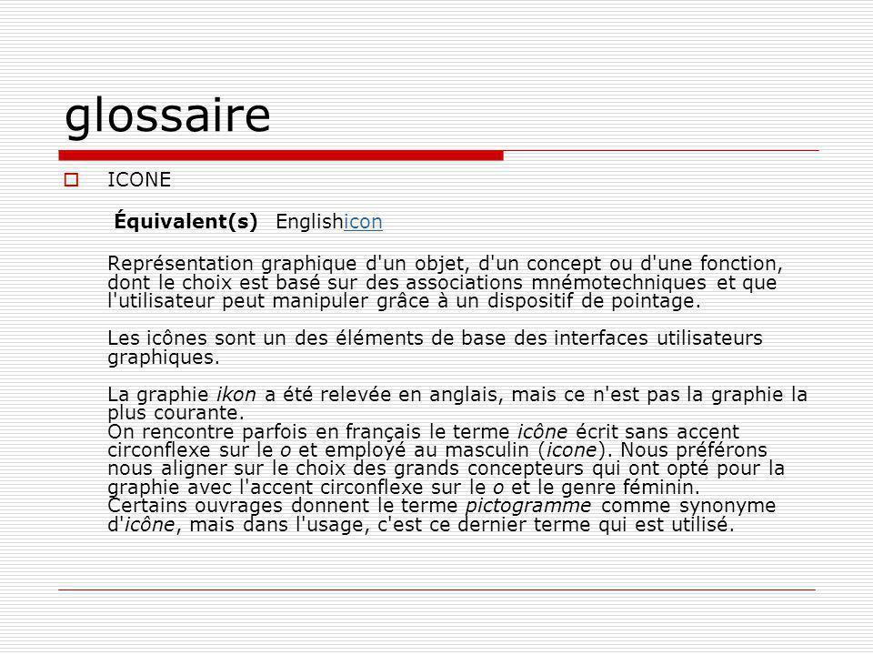 glossaire ICONE Équivalent(s) Englishicon
