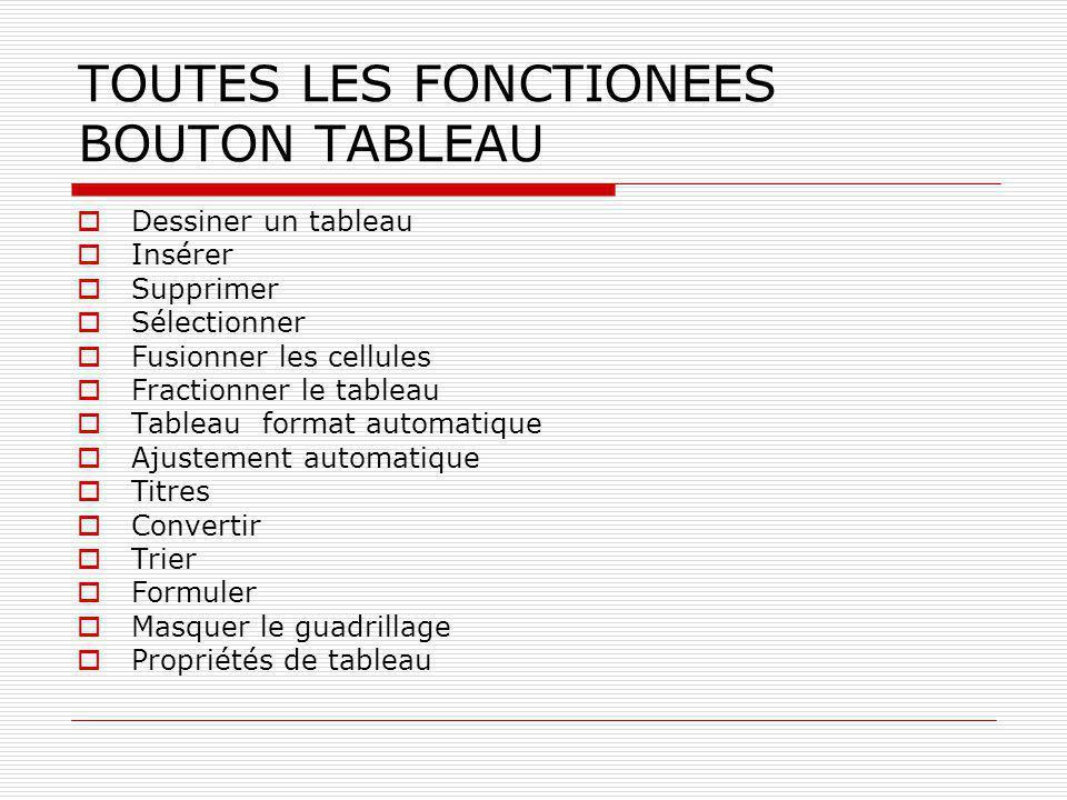 TOUTES LES FONCTIONEES BOUTON TABLEAU