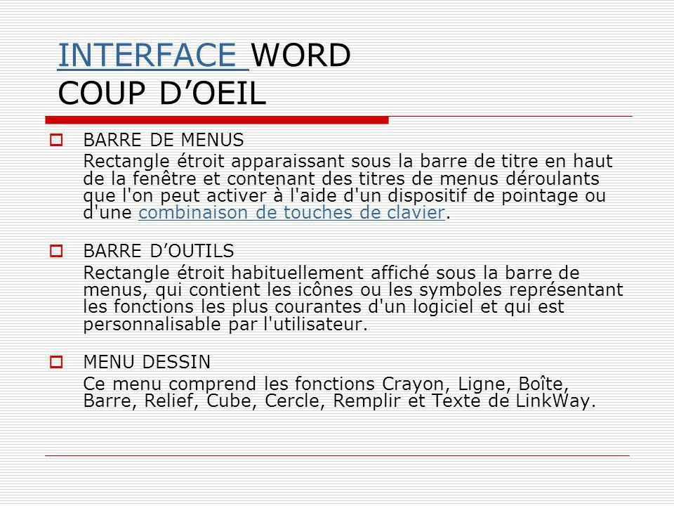 INTERFACE WORD COUP D'OEIL