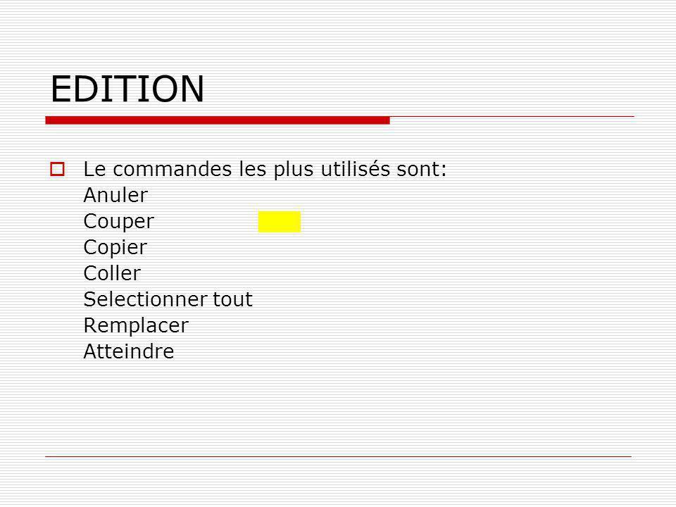 EDITION Le commandes les plus utilisés sont: Anuler Couper Copier