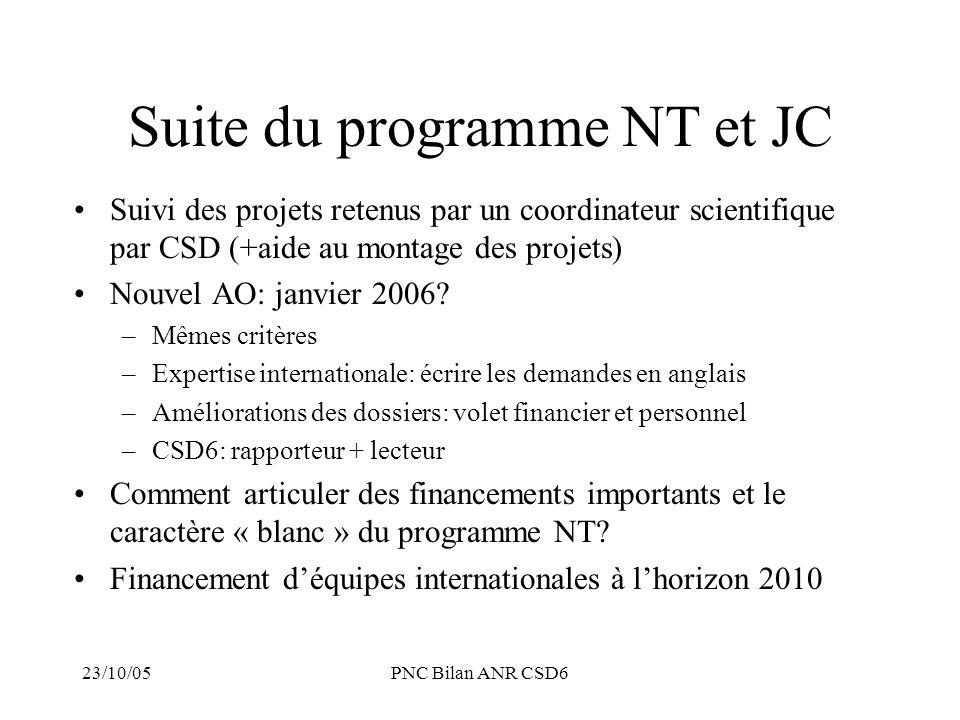 Suite du programme NT et JC