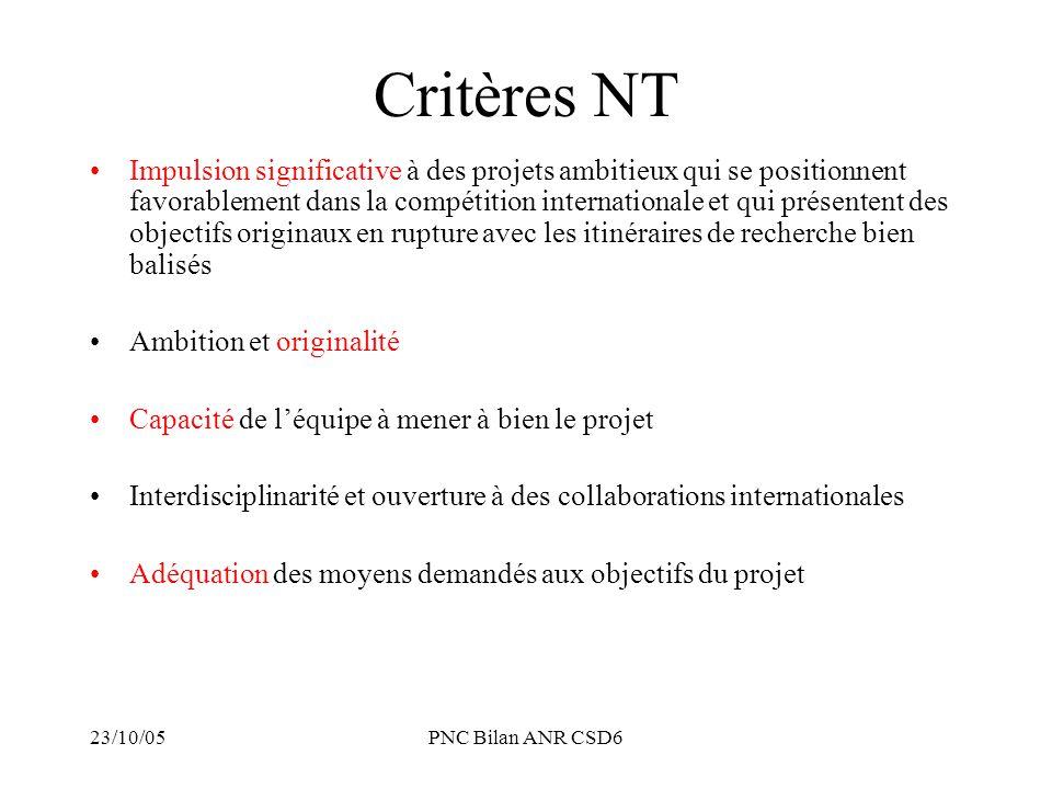 Critères NT