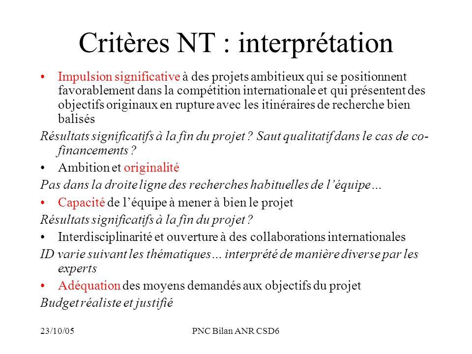 Critères NT : interprétation