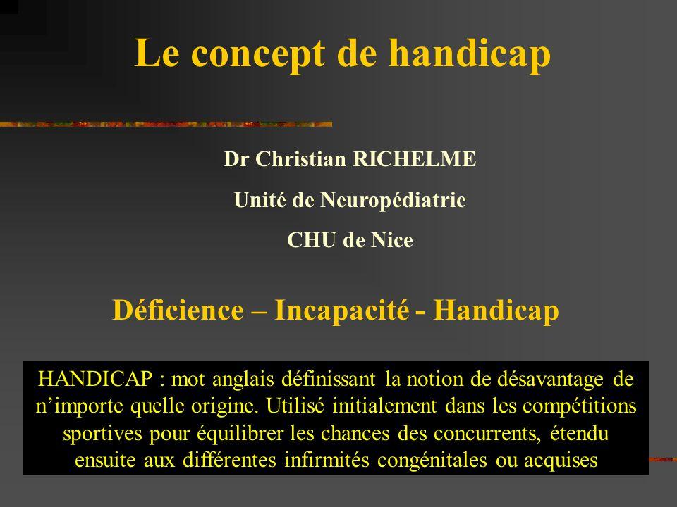 Unité de Neuropédiatrie Déficience – Incapacité - Handicap