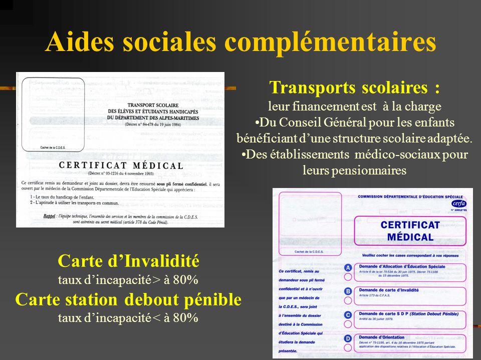 Aides sociales complémentaires