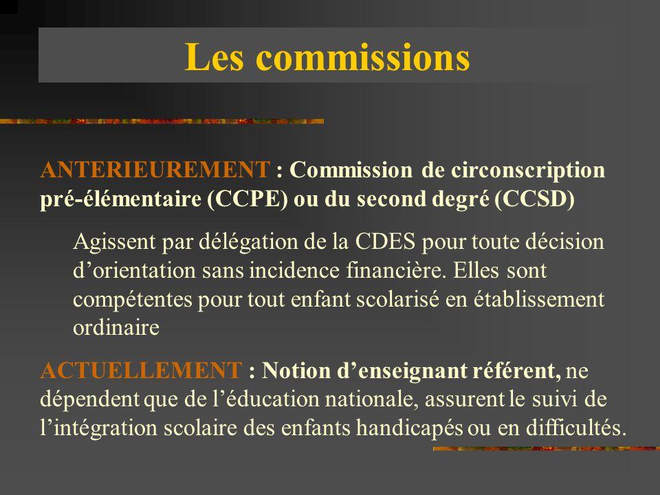 Les commissions ANTERIEUREMENT : Commission de circonscription pré-élémentaire (CCPE) ou du second degré (CCSD)