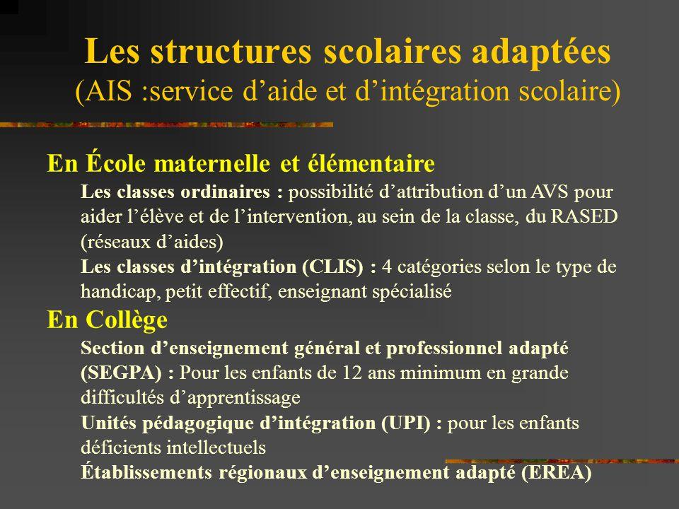 Les structures scolaires adaptées (AIS :service d'aide et d'intégration scolaire)