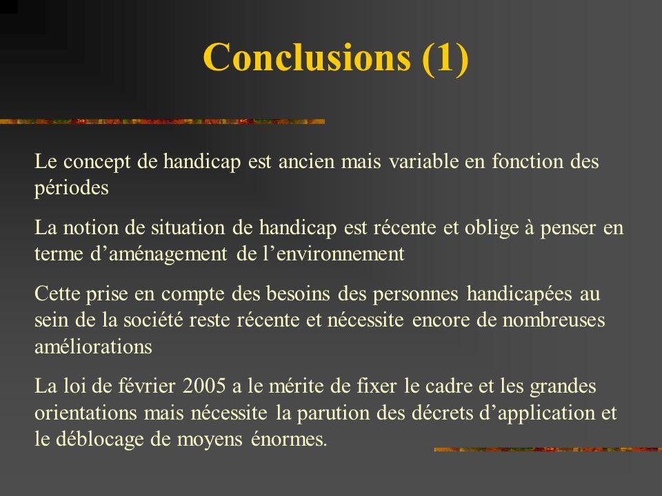 Conclusions (1) Le concept de handicap est ancien mais variable en fonction des périodes.