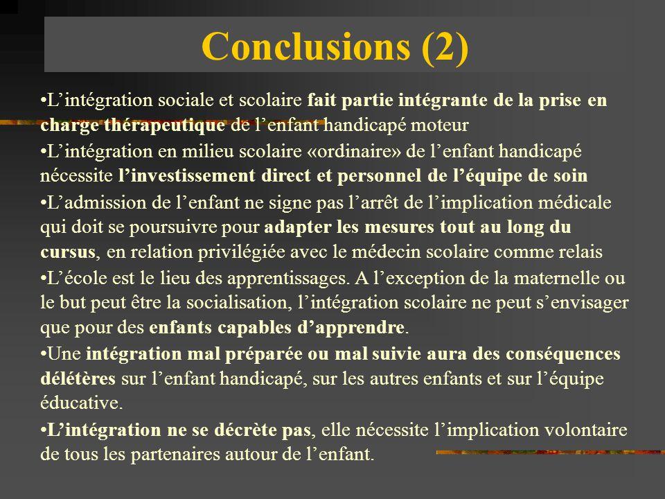 Conclusions (2) L'intégration sociale et scolaire fait partie intégrante de la prise en charge thérapeutique de l'enfant handicapé moteur.