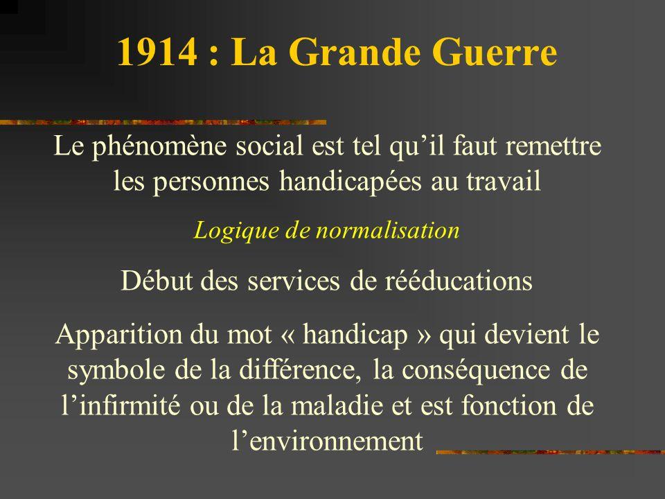 1914 : La Grande Guerre Le phénomène social est tel qu'il faut remettre les personnes handicapées au travail.