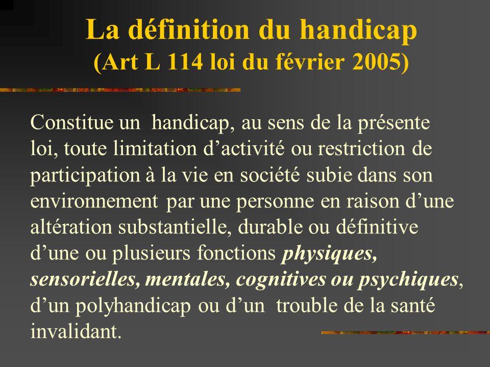 La définition du handicap (Art L 114 loi du février 2005)