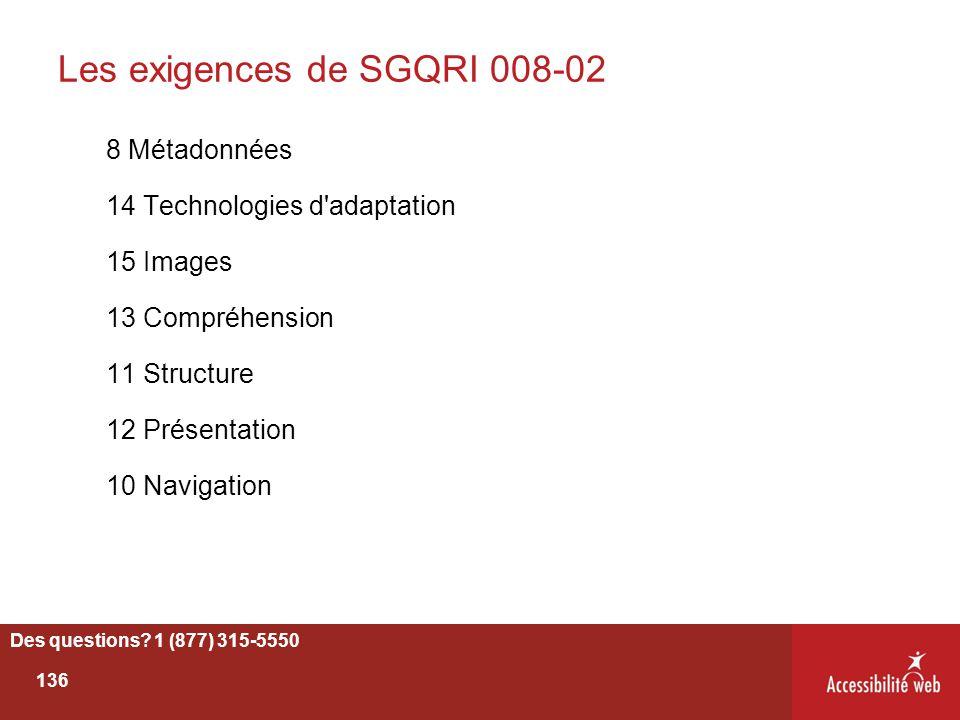 Les exigences de SGQRI 008-02