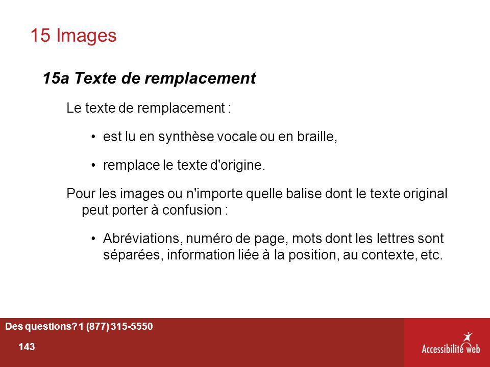 15 Images 15a Texte de remplacement Le texte de remplacement :