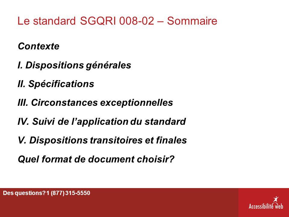 Le standard SGQRI 008-02 – Sommaire