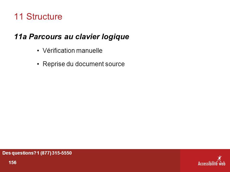 11 Structure 11a Parcours au clavier logique Vérification manuelle