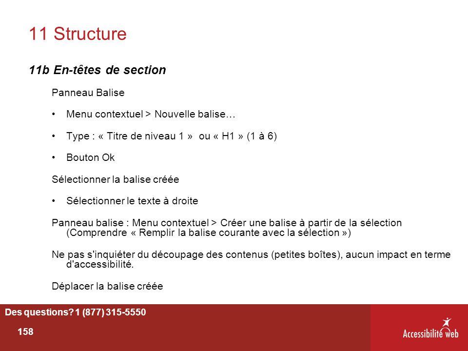 11 Structure 11b En-têtes de section Panneau Balise