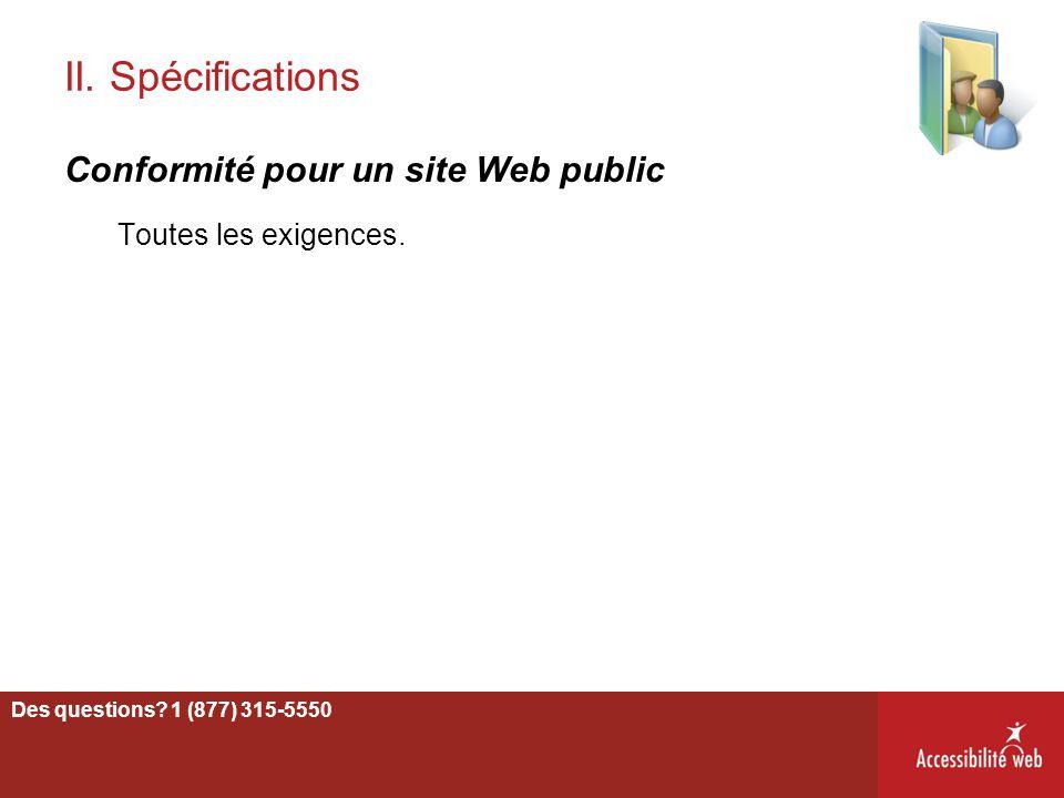 II. Spécifications Conformité pour un site Web public