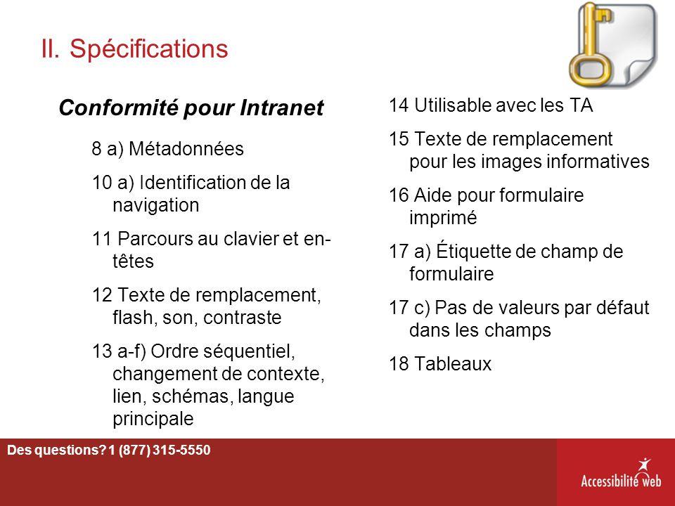 II. Spécifications Conformité pour Intranet 14 Utilisable avec les TA