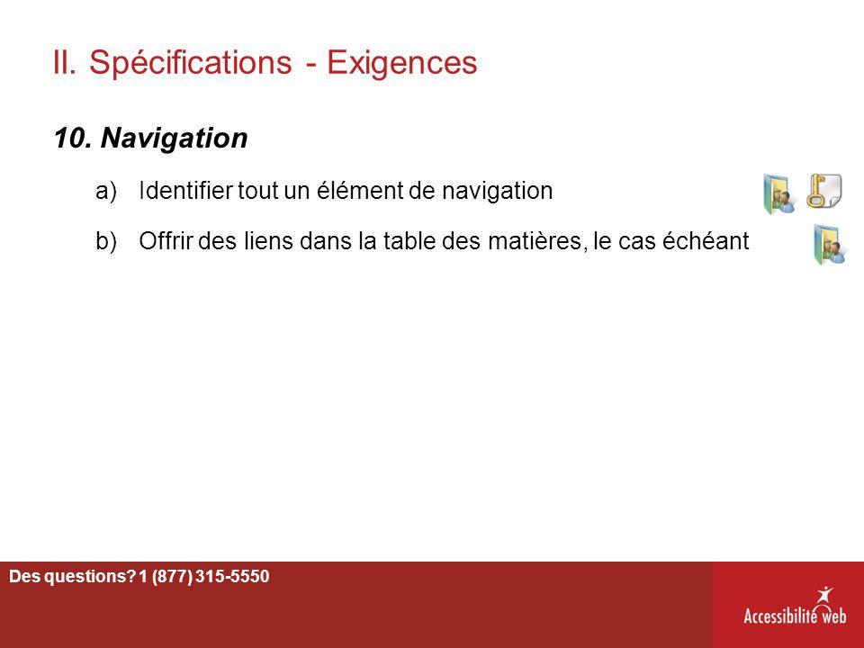 II. Spécifications - Exigences